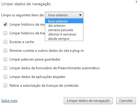 Como Apagar o Histórico do Browser